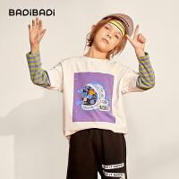 【2件3折:40】巴拉巴拉旗下 巴帝巴帝秋冬新款男童长袖T恤假两件条纹儿童打底衫中大童童装潮