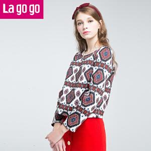 lagogo冬季新款印花拼接圆领长袖卫衣短款内搭T恤女打底衫