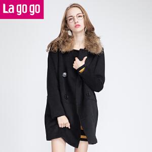 Lagogo冬季新款毛领女外套毛呢大衣中长款修身显瘦双排扣呢子上衣