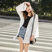 2018春夏新款韩版雪纺上衣女超仙甜美学生中长款长袖百搭防晒开衫