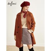 [12-13日3件2折价:184]伊芙丽冬装新款韩版中长款毛呢外套女焦糖色宽松羊毛双面呢大衣女