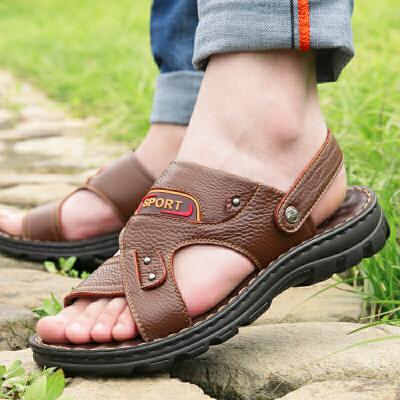 宜驰 EGCHI 凉鞋 男休闲凉鞋男士漏指沙滩皮凉鞋 10664