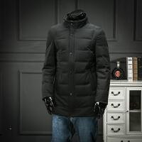 欧洲站 人在江湖 秋冬立领简约羽绒服时尚修身保暖羽绒外套中长款