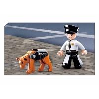 快乐小鲁班兼容积木拼插玩具男孩拼装积木警察suv巡逻车