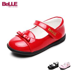 百丽童鞋17年新款女童皮鞋婴童蝴蝶结魔术贴单鞋宝宝鞋学生鞋 DE5832