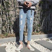 韩版夏季男裤薄款牛仔九分裤男士小脚裤浅色破洞裤潮男学生修身裤