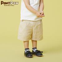 【3件3折 到手价:119】PawinPaw卡通小熊童装夏款男宝宝休闲短裤婴幼儿条纹裤子五分裤