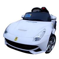 法拉利儿童电动车 四轮童车可坐 宝宝玩具车双驱可遥控小孩电动汽车
