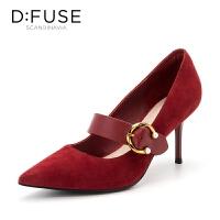 【领券减100】迪芙斯(D:FUSE)女鞋 秋季羊皮革玛丽珍细跟尖头单鞋 DF83111775