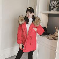 棉衣女士冬季新大毛领红色中长连帽显瘦收腰棉衣外套女工装棉袄