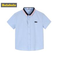 巴拉巴拉童装男童衬衫短袖中大童夏装2018新款时尚休闲儿童衬衣棉