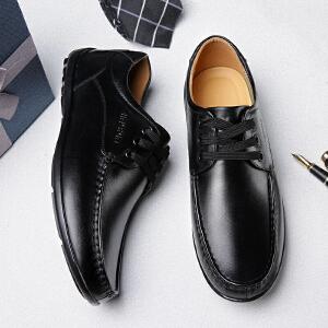 宜驰 EGCHI 商务休闲鞋男士系带英伦低帮头层牛皮休闲鞋 21344