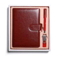 商务办公笔记本文具礼盒套装 (皮面记事本+黑色签字笔+16Gu盘)可定制LOGO