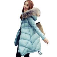 冬装新款韩版女士羽绒服修身中长款真貉子毛领A版羽绒服女