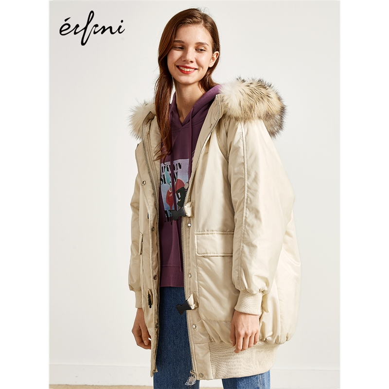 2件4折 伊芙丽冬装新款韩版中长款羽绒服外套女羽绒衣1189987841