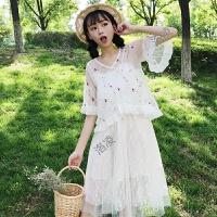 2018夏装女装日系软妹刺绣花朵网纱衬衣上衣+蕾丝拼接吊带连衣裙