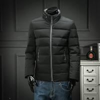 欧洲站 男士立领羽绒服简约时尚休闲黑色保暖羽绒外套青年短款潮