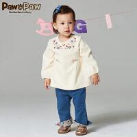 【2件2.5折 到手价:100】Pawinpaw宝英宝卡通小熊童装秋季款女宝宝T恤PBMA73841M