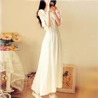 2018夏季新款公主波西米亚韩版雪纺短袖连衣裙甜美时尚学生长裙女 白色 升级版有内衬