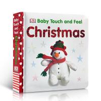 英文原版 DK Baby Touch and Feel Christmas 圣诞节庆绘本 触摸 纸板书 入门启蒙 英文