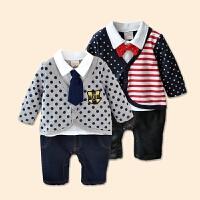 6-12个月新生儿秋季衣服纯棉宝宝周岁礼服男秋装一岁英式婴儿衣服
