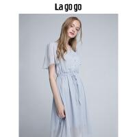 【5折价165.5】Lagogo/拉谷谷2018年夏季新款时尚V领小清新短袖连衣裙HALL335F31