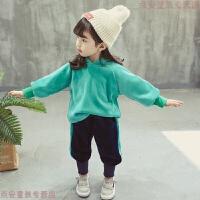 女童秋冬装2018新款女宝宝金丝绒洋气套装儿童韩版加绒两件套潮衣