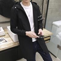 新款秋季薄款风衣男士学生连帽中长款青年修身韩版外套帅气男装潮