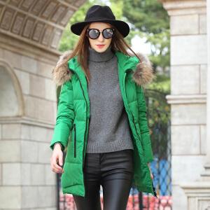 雅鹿2016新款冬羽绒服女中长款修身显瘦 韩版时尚保暖连帽外套潮