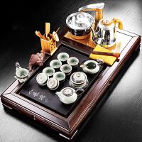 茶盘实木长方形大号整套复古紫砂功夫茶具四合一办公室自动电热炉