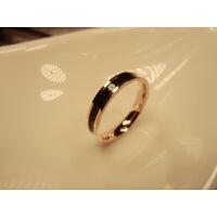 时尚玫瑰金窄版网红黑白陶瓷戒指 男女情侣指环对戒尾戒食指饰品