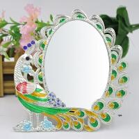 台式折叠化妆镜桌面镜子便携梳妆孔雀相框公主金属小镜子礼品圣诞节礼物