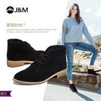 jm快乐玛丽2018秋季新款时尚方根高帮反绒皮休闲鞋系带女鞋69005W
