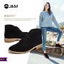 jm快乐玛丽秋季新款时尚方根高帮反绒皮休闲鞋系带女鞋