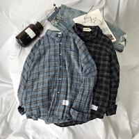 春季新款小尖领韩版青年时尚休闲长袖衬衫男士格子衬衣服