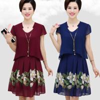 中老年女装夏装新款裙子40-50岁中年妈妈装夏季短袖气质连衣裙