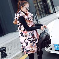 棉衣马甲女士外套秋冬新款韩版中长款加厚连帽外套迷彩印花休闲马夹潮 XL 120-135斤