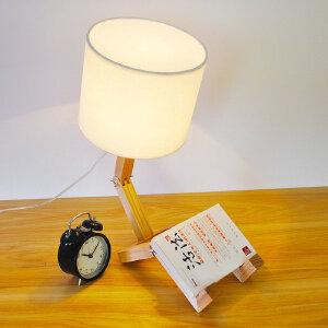 【每满100-50】木艺台灯 小木灯 台灯卧室 实木底座 装饰布艺简约床头阅读灯 氛围灯YX-LMD0112