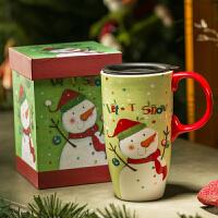 Evergreen爱屋格林创意圣诞卡通马克杯大容量水杯子陶瓷杯礼盒装咖啡杯美式风格 手绘手柄 大容量 精美礼盒装