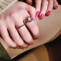 -百搭镶钻复古气质戒指女个性指环日韩饰品潮简约两件套装饰品 两件套