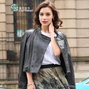 CITYSAILOR 2017新款女士女士机车皮衣短款修身铆钉双排扣皮夹克外套女装