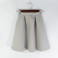 O07009精品秋冬新款隐形拉链高腰显瘦两色女纯色太空棉半身裙