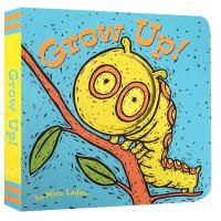 英文原版绘本 Grow Up! 纸板书 猜猜我是谁姊妹篇 启蒙纸板书 亲子互动游戏 躲猫猫洞洞书