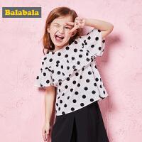 巴拉巴拉童装女童小童宝宝短袖衬衫春夏2018新款圆领波点甜美衬衣