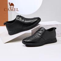 骆驼2019男鞋新款商务系带男士内增高皮鞋牛皮软底内增高皮鞋