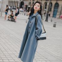 呢子大衣女中长款秋冬季新款韩版学生雾霾蓝加厚宽松毛呢外套 X