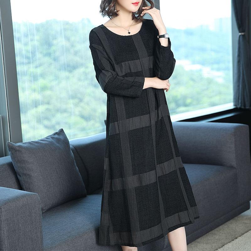 名媛秋装新款女连衣裙显瘦韩版气质格子长裙时尚宽松大码女装裙子 黑色格纹