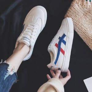 小白鞋女小皮鞋女单鞋女2018春季新款圆头低跟原宿学院风学生系带休闲鞋女324MM