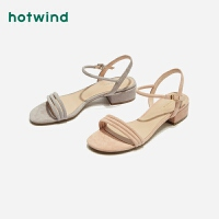 热风潮流时尚女士凉鞋中跟一字扣带凉鞋H52W9210