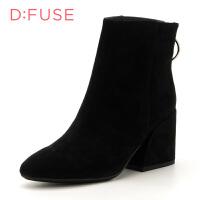 迪芙斯(D:FUSE) 绒面羊皮革方跟尖头正装短靴DF74116067
